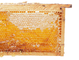 open honeycomb in wooden frame