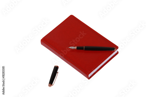 Red diary book over white