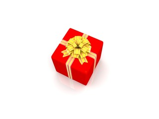 Red gift isolated on white background