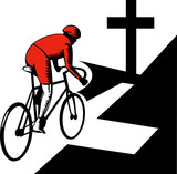 Cyclist on bicycle in intersection with Christian cross poster
