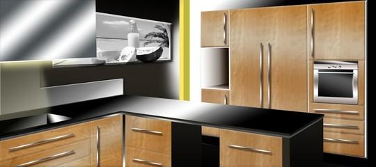 cuisine design chene et laqué noir