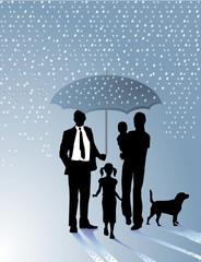 Familie und Regenschirm