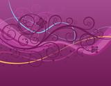 Fototapety Purple waves, swirls and butterflies