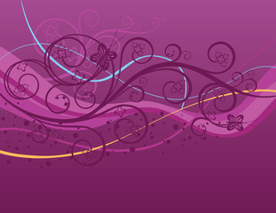 Purple waves, swirls and butterflies
