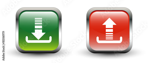 Download & Upload Sign Square Icons