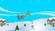 Animation of Santa Claus in his sleigh with his reindeer