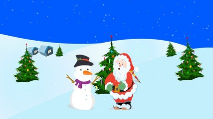 Animation of Santa Claus and snowman wishing Happy  Holidays