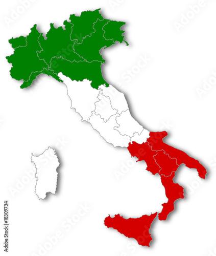 Italia tricolore suddivisa in regioni
