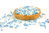 Rusk with blue mice over white background poster