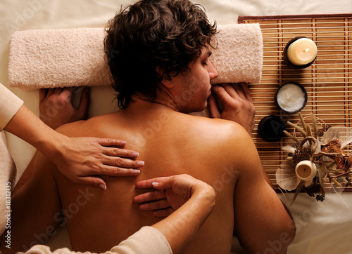 man on relaxation, recreation, healthy massage