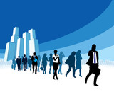 Businesspeople in a hurry poster