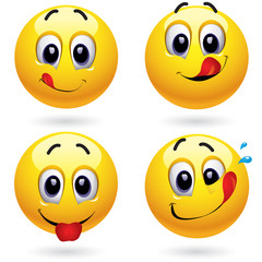 Smiley balls in temptation of tasting sweets