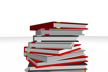 stack of books with education cap