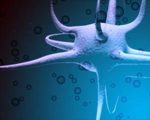 virus creature floating in water