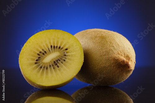 Kiwi and a half on blue