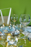 Luxury celebration green table setting