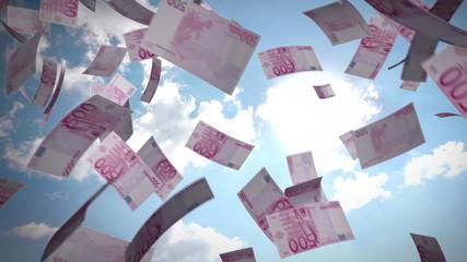 Billetes volando con un fondo de nubes