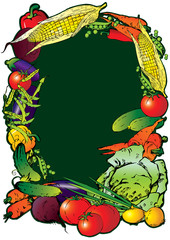Frame of the different vegetables. Sample text.