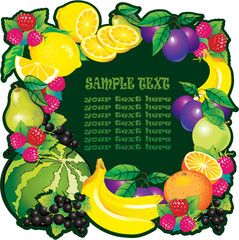 Fruits frame with place for sample text. Healthy food.