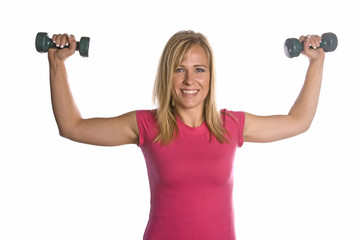 Woman with arms up holding weights