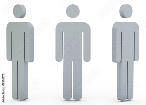 Three Metal silhouette of the person