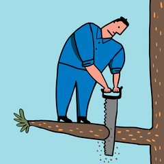 Hombre corta rama donde está parado