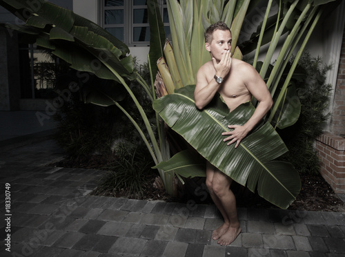 Man covered by a palm frond