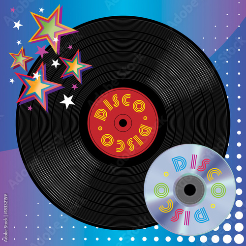 poster of Vinyl Plate and Digital Laser Disc, Disco Music Media