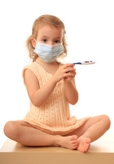 Girl is in medical mask.