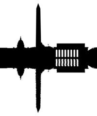 Washington DC Skyline reflected with ripple