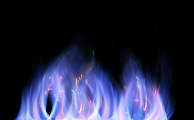 Blue technical isolated flames