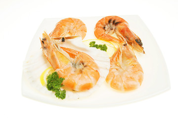Crevettes on plate