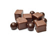 Chocolate cubes and balls fanned out