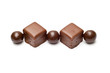 Lined chocolate balls and cubes top view