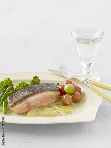 Crispy salmon with lemon and brown butter sauce