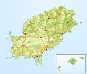 Landkarte von Ibiza ohne Text