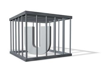 der buchstabe u in einem käfig