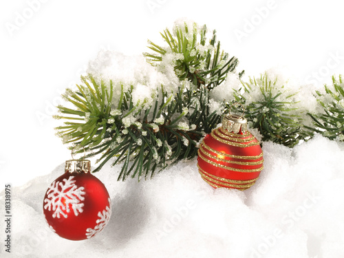 weihnachtskugeln am tannenzweig stockfotos und. Black Bedroom Furniture Sets. Home Design Ideas