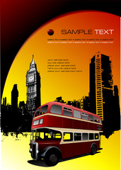 London images with double Decker bus.  Vector illustration