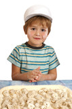 Little chef preparing ravioli poster