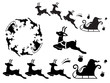 Santa Claus sleigh silhouette. Useful as vector brush