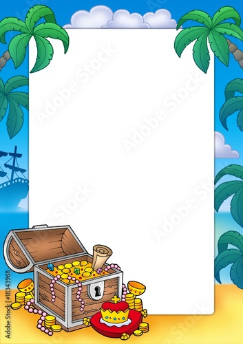 Frame with big treasure chest