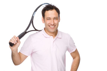 Man with tennis racket