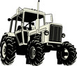 Detailed vector tractor silhouette