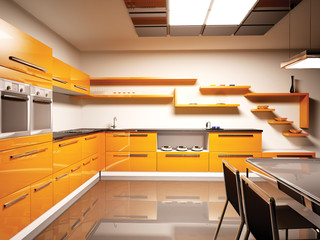 Küche Innenaufnahme 3d