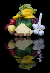 Composizione Di Frutta Verdura E Formaggio