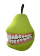 Pear fruit with a healthy set of teeth and a smile.