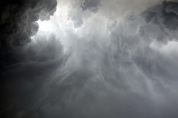Dramatic clouds during a rainstorm