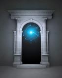 Mysterious magic portal with corinthian columns poster