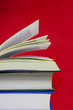 books on red background
